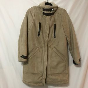H&M Tan Faux Suede Sherpa Lined Winter Coat